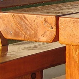 Detailansicht einerNaturstamm Sitzgruppe
