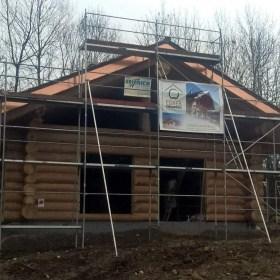 Naturstammhaus Baustelle Dietmanns