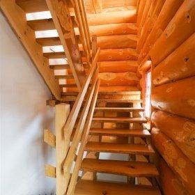 Innenausbau im Blockhaus - Naturstammtreppe